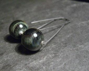 Drop silver earrings, geometric hoop earrings cat's eye, bull'e eye earrings, oversized silver earrings - Saturn
