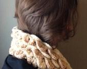 Leaves Chunky Crochet Scarf Warmer Cowl Knit Infinity Loop Neck Hood Crocodile Stitch