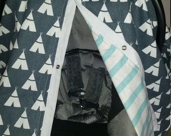 Carseat Canopy Charcoal Teepee with Aqua Stripe Reversible