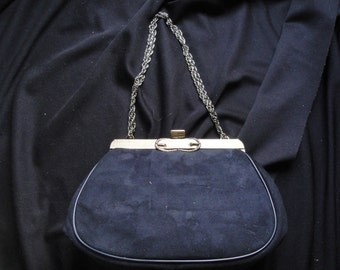 1960's WEARALL Black Suede Evening Bag Handbag