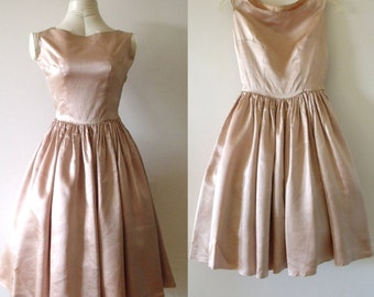 50's BALLERINA Sleeveless Blush Flare Dress ~ size: XS