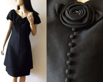 60's Black Cocktail LESLIE FAY Dress