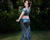Pewter, Erte Inspired Mermaid Skirt with Side Train