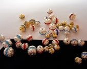 6 Beads with Crystal Rhinestones, spacer balls .. Silver or Gold Metal ...  sizes 6, 8 and 10mm ... rhinestone colors - red, blues and white