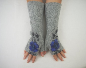 Long Felted Fingerless gloves Fingerless Mittens Arm warmers Gloves -Light gray