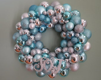 Christmas Ornament wreath AQUA and SILVER  JOY Easter or Christmas Ornament Wreath