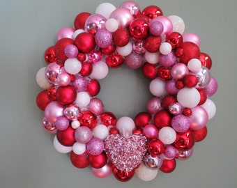 """VALENTINE'S Day Larger 18"""" Wreath RED White Pink Ornament Wreath"""