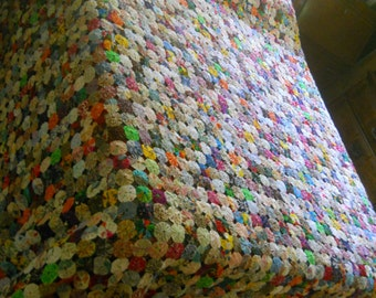 "Reduced--Beautiful HUGE KING SIZE YoYo Quilt--3392 Handmade 1 3/4"" YoYos--122"" long x 123"" wide--Weighs over 9 pounds"