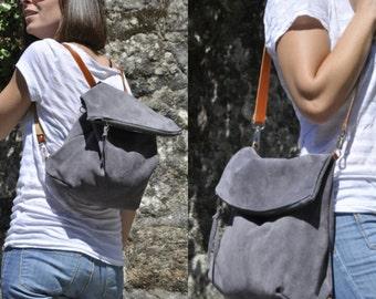 leather bag grey leather backpack shoulder bag convertible backpack crossbody bag grey - zipper and adjustable strap - ELI model