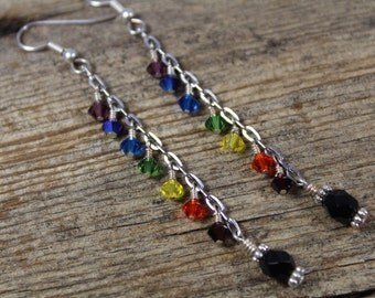 Rainbow Dangle Chain Earrings / Long Earrings / Rainbow Earrings / Gifts for Her / Gifts for Women / Rainbow Jewelry / Bridesmaid Gifts