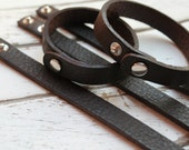 "New SHORTER Length - SKINNY 1/2"" Leather Cuff Bracelet - PEBBLE Brown -  Genuine Leather Cuff Bracelet -Wristband - One Skinny Cuff Blank"
