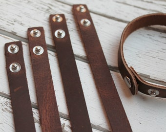 Stacking SKINNY 1/2 inch Wide Leather Cuff - Wristband - 1/2 Inch Wide Genuine RUSTIC BROWN Leather Cuff Bracelet - Diy Jewelry Supply