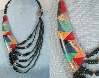 1980s Snakeskin Beaded Statement Necklace