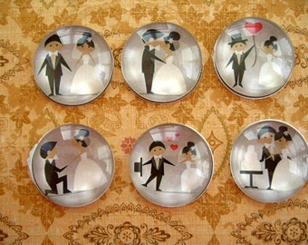 Black White Wedding Magnet, Black Wedding Fridge Magnet Decoration, Black White Party Decoration Style 2