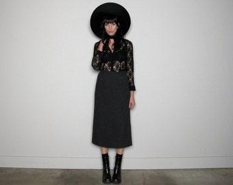 Grey WOOL MAXI Skirt 90s Donna Karan High Waist Size 26