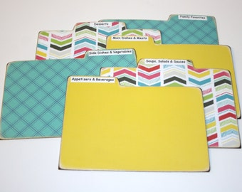 Recipe Divider Cards, Set of 6, Chevron Dividers, Yellow and Teal Tabs, 4x6 Recipe Divider Cards, Made of Hard Laminate, Colorful Dividers