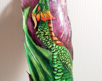 Green Dragon feather painting .