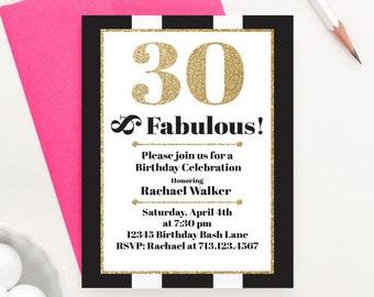 30 and Fabulous, Milestone Birthday Invitations, Adult Birthday Invitations Adult, 30 Birthday Invitation, 30th Birthday Invitation, BI021
