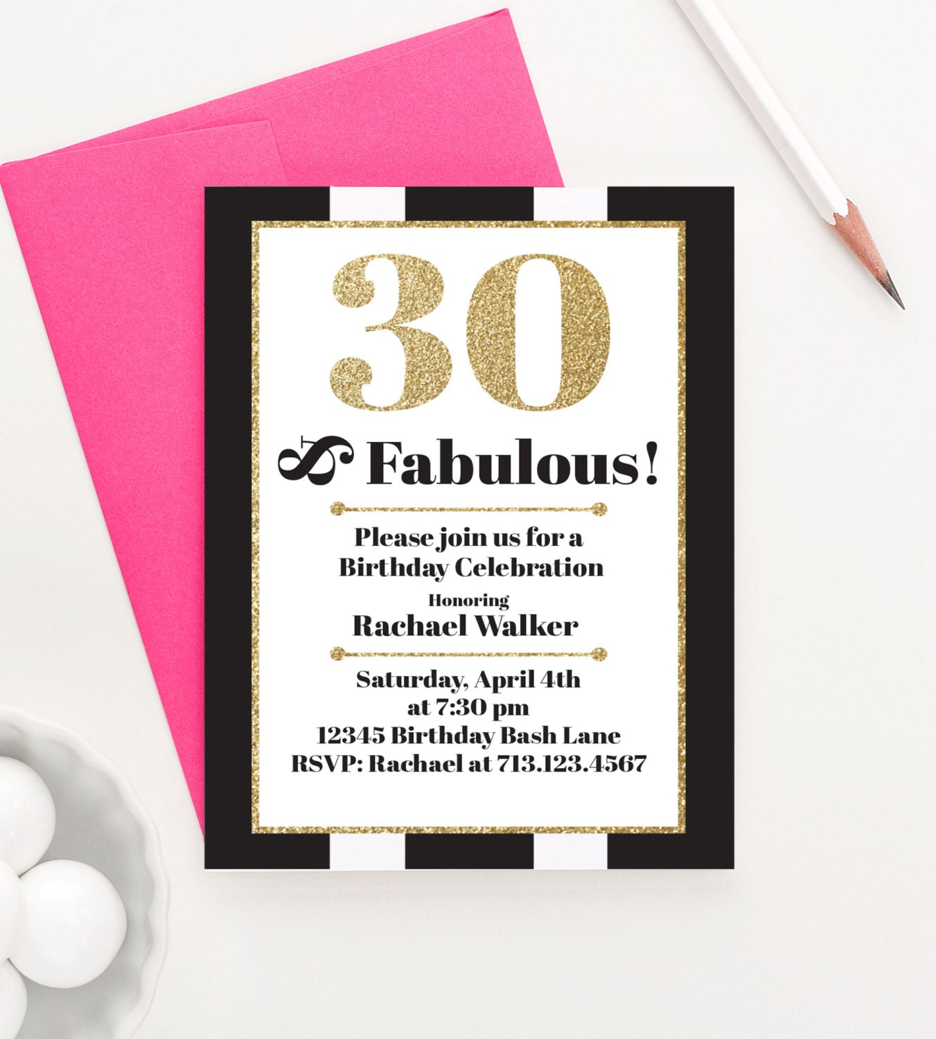 30 and Fabulous Milestone Birthday Invitations Adult