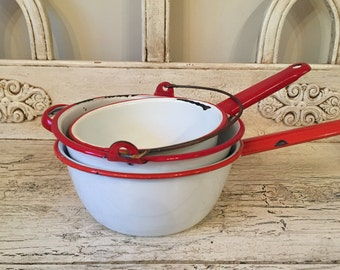 Vintage Red and White Enamel Camping Pots - Rustic Farmhouse Pots and Pans