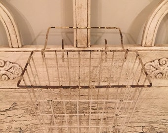 Vintage Wire Basket - Industrial Storage - Chippy White Hanging Basket