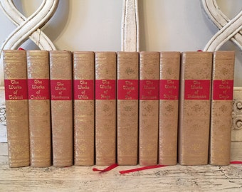Gilded Library Book Stack - Tan, Red and Gold - Vintage Classics Collection - Blacks Reader's Service