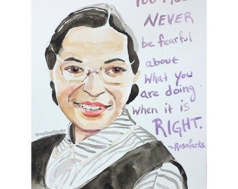 Rosa Parks portrait and inspiring quote