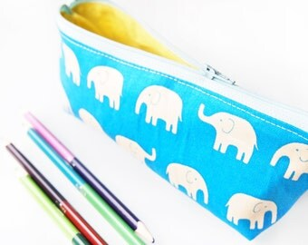 Zippered Pencil Case / Pouch - Blue Elephant