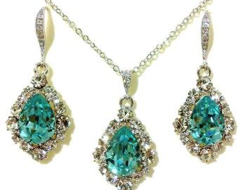 Something Blue Wedding Jewelry Set, Turquoise Bridal Jewelry, Bridal Earrings, Teardrop Bridal Necklace, Swarovski Crystal Earrings, BIJOUX