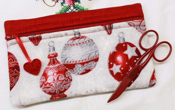 Side Kick Red Metalic Silver Ornaments Bag