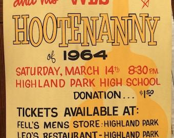 1964 WLS Radio Chicago Hootenanny Concert Poster