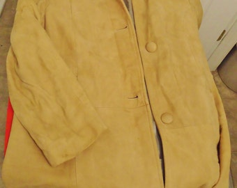 Vintage Tan Suede Sport Jacket Coat Size 12 Women's