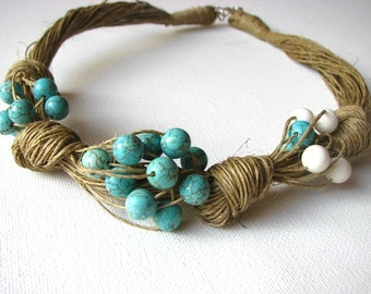 loop of turquoise - linen necklace