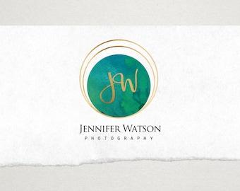 Premade Logo // Logo Design // Business Logo //  Photography Logo // Watercolor Logo // Bohemian Circle Monogram Logo