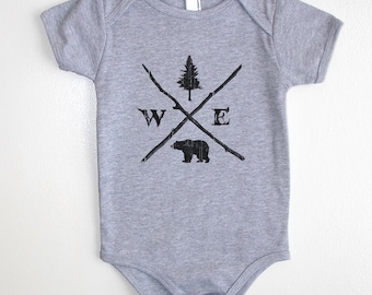 Forest Compass Baby Onesie - American Apparel Baby Outfit - Available in 3-6MO, 6-12MO, 12-18MO