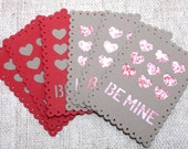 Valentines Cards, Be Mine, Hearts, Set of 6 Valentine's Cards, Handmade Valentines