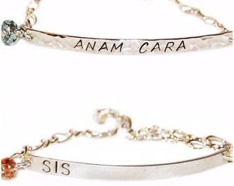 Delicate Hammered Personalized silver bracelet, dainty silver bracelet, custom gift for her, feminine engraved bracelet, 925 silver