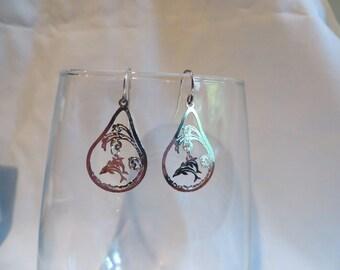 Silver Dolphin Charm Earrings dolphin, silver, charm, earrings, dangle