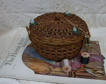 Lovely Antique, Vintage Wicker Sewing Basket,Glass Beads,Silk Lining