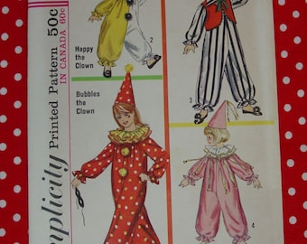 Vintage Pattern c.1965 Simplicity No.6198 Child's Clown Costumes, Size Small, 4-6