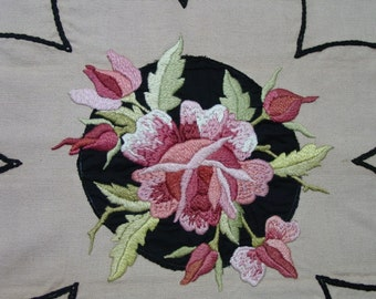 Antique Royal Society Pillow Top Gorgeous Embroidered Rose
