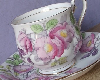 Vintage 1940's Royal Albert Flower of the Month teacup and saucer, Dog rose, Hand painted tea cup, English Pink rose bone china teacup