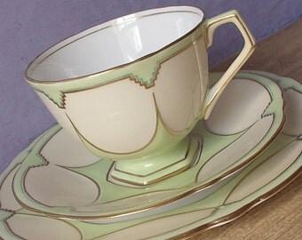 Antique 1930's Aynsley teacup trio, art deco tea cup, pastel green tea cup and saucer plate set, English tea cup, bone china teacup,