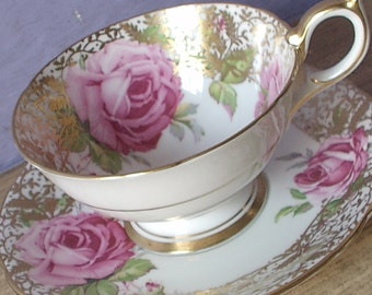 Vintage 1950's Aynsley Large Pink Rose teacup and saucer, English tea cup, Bone china teacup, Gold and white teacup, Wedding gift for bride