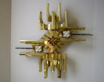 Mid Century Metal Art Abstract Wall Hanging - Brass & Enamel