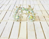 Vintage Rhinestone Clip Earrings, Pale Green, Aurora Borealis, Botanical motif, 1950's, Clip Ons, Dainty, Retro earrings, Mid Century style