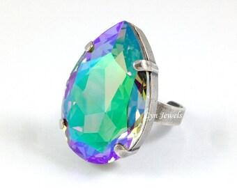 PARADISE SHINE Teardrop Ring // Large Swarovski Crystal Purple Cocktail Ring // Big Rainbow Statement Antique Silver Cocktail Ring