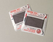 Natural Silk Cord With Needle - 2 packs - Size 10 - Grey