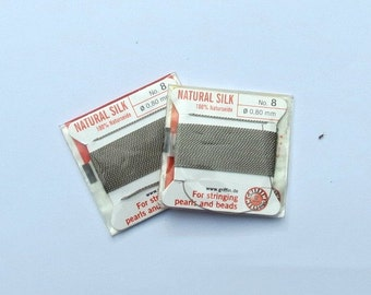 Natural Silk Cord With Needle - 2 packs - Size 8 - Grey