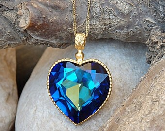 Blue Heart Shaped Necklace, Gold Heart Necklace, Heart Jewelry, Blue Swarovski Heart Necklace, Anniversary wife gift. Halo Heart Pendant